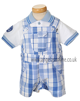 U2 BS Blue & White Dungaree Set 2841