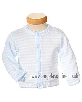 Pex Rufus Baby Boys Pale Blue & White Striped Knit Cardigan B5219