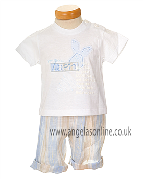 Valenri Baby Boys 2 Pc Blue/White/Sand Outfit 2140