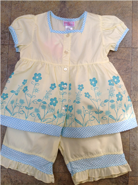 Dizzy Daisy Girls Pale Yellow & Blue Floral Outfit 8129