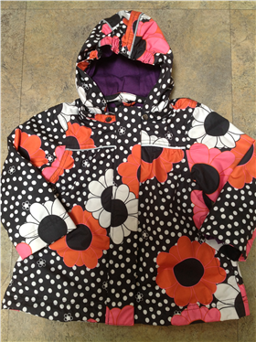 Me Too Girls Black Floral & Spot Hooded Jacket 201438