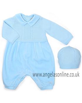 Emile et Rose Boys Blue Knit/Velour Romper & Hat 1522pb | Baxter