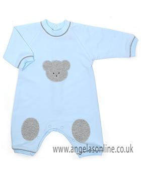 Emile et Rose Baby Boys Blue Teddy Bear Romper 1528pb | Basil
