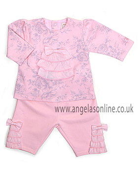 Emile et Rose Baby Girls Pink Floral & Frill Outfit 6339pp Brandy