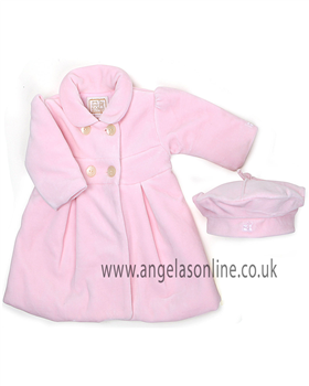 Emile et Rose Baby Girls Pink Velour Coat & Hat 9201pp Bianca
