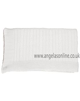 Emile et Rose Babys White True knit Blanket 8131wh Bailey