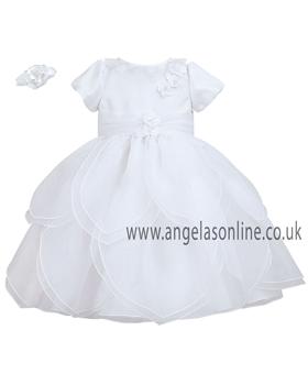 Sarah Louise Baby Girls White Christening Dress 9166wh