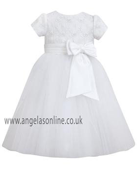 Sarah Louise Girls Christening & Communion Dress 070034-9434 White