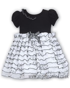 Sarah Louise Girls Black & White Tiered Frill Dress 9091
