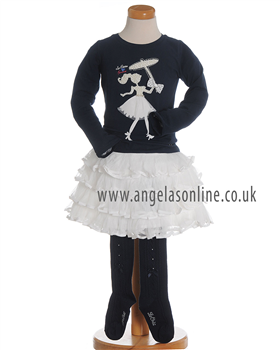 S&D Le Chic Girls Navy Top, Cream Skirt & Navy Tights 5401/| 5799 nv