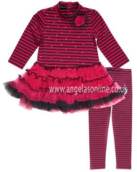Kate Mack Girls Fuchsia Pink Striped Tutu Dress  620