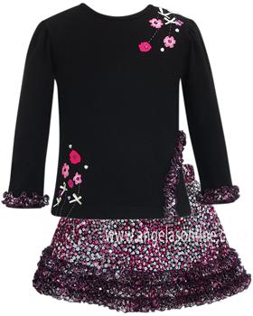 Sarah Louise Girls Black/Pink Floral & Frill Top & Skirt 9066 | 9067