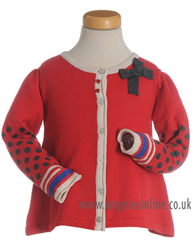 Deux par Deux Girls Red Spot & Stripe Knit Cardigan ET35