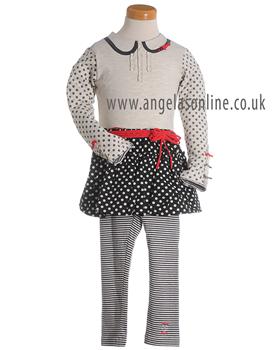 Deux par Deux Girls Spot/Stripes Top & Skirt with Leggings E74 | E67