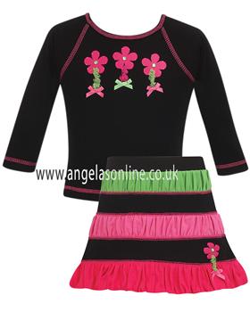Dani Girls Black/Green/Pink Floral Top & Skirt D4545 | D4546