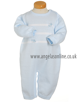 Pex Train Baby Boys Pale Blue Knitted Romper 5334