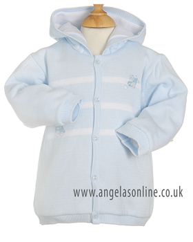Pex Train Boys Pale Blue Knit Jacket with Hood 5337