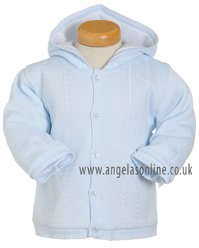 Pex Cable Baby Boys Pale Blue Knit Jacket with Hood 5349