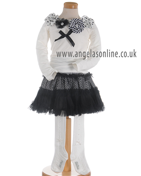 S&D Le Chic Girls Ivory Top, Black Skirt & Ivory Tights 5422/5716