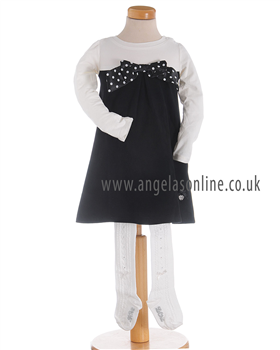S&D Le Chic Girls Off White & Black Dress with Tights 23087725