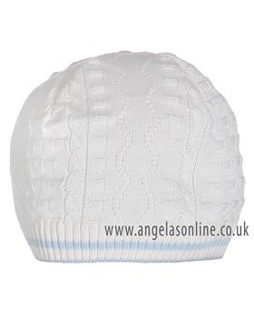 Pretty Originals Boys knitted Cream pull on hat P64360