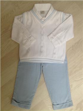 Pretty Originals Baby Boys White/Blue 3 Piece Set BB5135