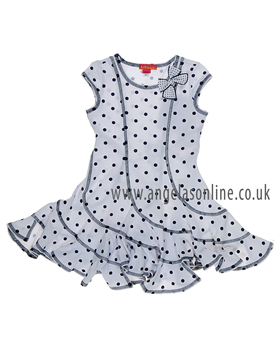 Kate Mack White/Navy Spot Dress 539M