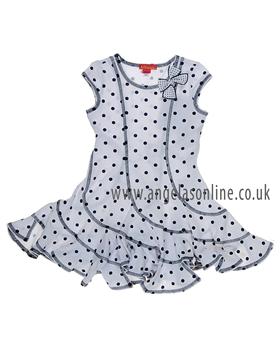 Kate Mack White/Navy Spot Dress 539M