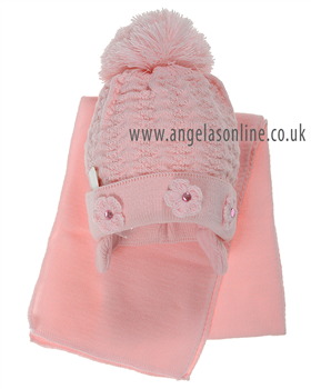 Ripples hat and scarf pink