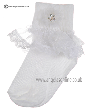 Girls Frill Sock 126/1 wh/wh ros/dia