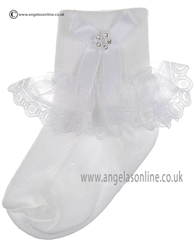 Girls Frill Sock 126/3 wh/wh bow/dia