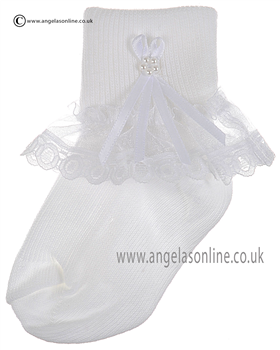 Girls Frill Sock 126/4 wh/wh longbow/pearl