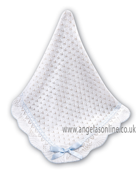Sarah Louise Shawl 031 White/Blue
