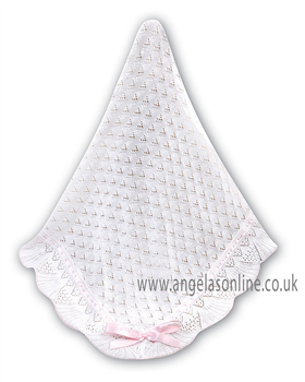 Sarah Louise Shawl 000031 White/Pink