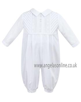 Sarah Louise Baby Boy Long Leg Romper 9453 White