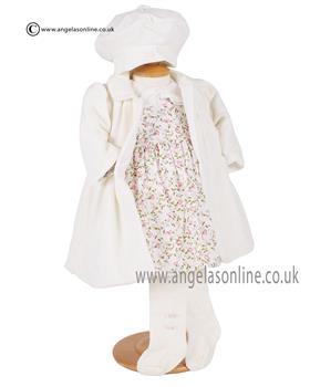 Emile et Rose Girls Velour Coat 9253 Ivory