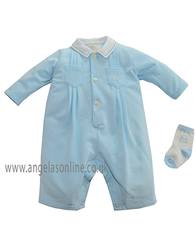 Emile et Rose Baby Boy All in One with Matching Socks Denby 1579pb