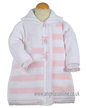 Pretty Original Baby Girls  Knitted Pink/White Coat JP99144