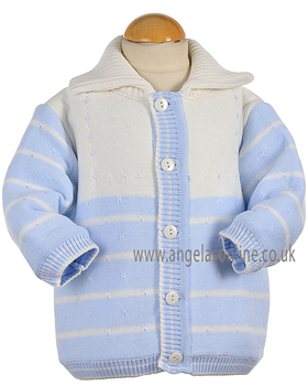 Pretty Originals Baby Boys Winter Knitted Blue/Cream Jacket JP97120