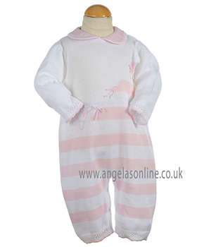 Pretty Originals Baby Girls Knitted Pink/White All in One JP99000
