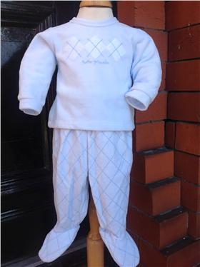 Tutto Piccolo Baby Boys Baby Blue Velour Suit 2 piece 6285 PB