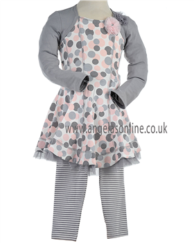 Kate Mack Girls Pink/Grey Spotty Dress &  Striped Leggings 560/571 MM