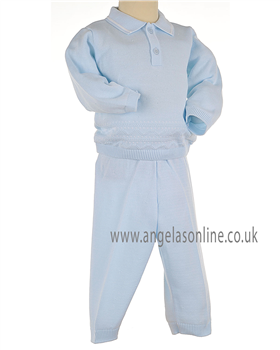 Pex Classic Baby Boys Pale Blue & White Jumper & Knitted Pants B5770