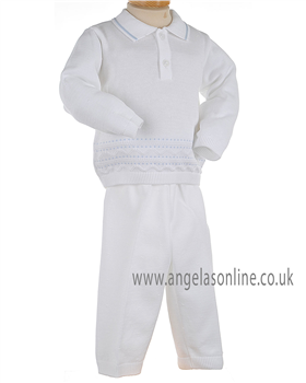 Pex Classic Baby Boys White & Pale Blue Jumper & Knitted Pants B5770