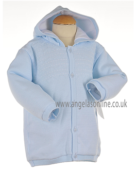Pex Classic Baby Boy Pale Blue & White Knitted Winter Jacket B5767