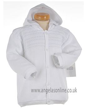 Pex Classic Baby Boy White & Pale Blue Knitted Winter Jacket B5767
