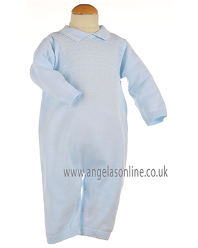 Pex Classic Baby Boys Pale Blue & White Knitted All in One B5769
