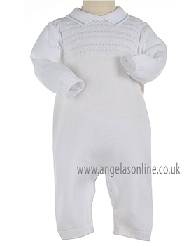 Pex Classic Baby Boys White & Pale Blue Knitted All in One B5769
