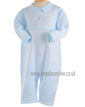 Pex Baby Boys Blue Knitted All in One with Giraffe detail B5746
