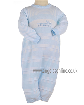 Pex Baby Boys Pale Blue/White All in One with Train Detail B5758